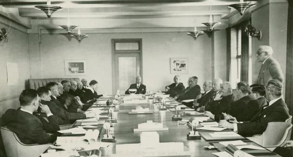 Historic photograph of business meeting