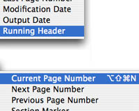 Menu location of Page Numbering and Running Headers