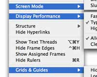 Change how InDesign previews your work and activate grids and guides from the view menu.